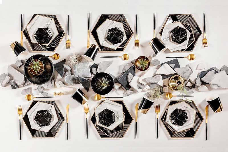 black striped & white marble disposable tableware