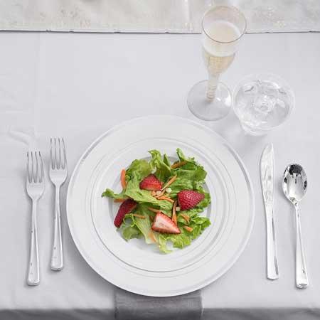 silver premium plastic tableware