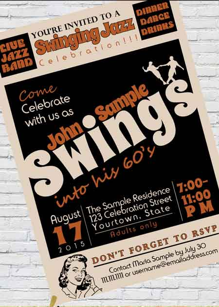 swing into 60 invitation