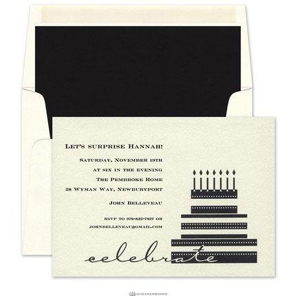 elegant invitation birthday cake