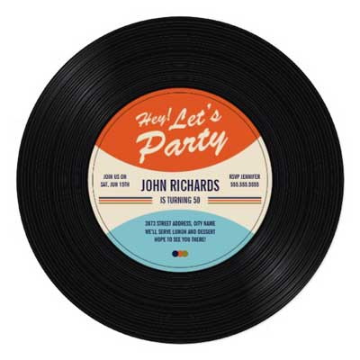 60th Birthday Party Invitation vinyl record