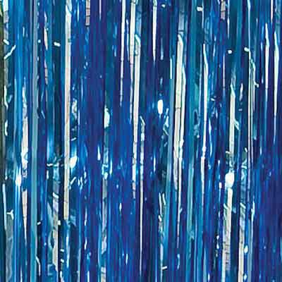 blue metallic foil curtain