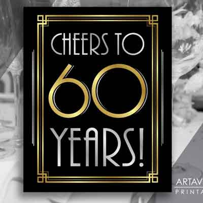 cheers to 60 years printable sign