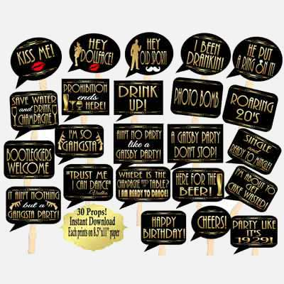 Great Gatsby Art Deco style photobooth props