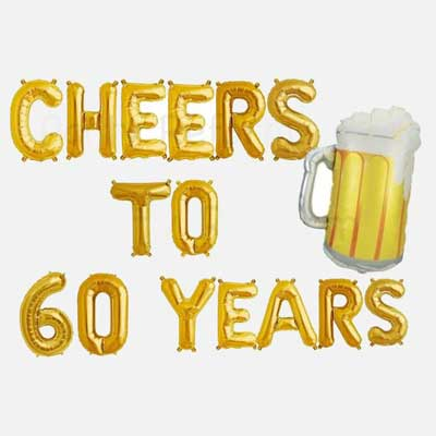 Cheers and Beers to 60 years balloons