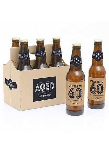 Aged to Perfection 60th birthday beer bottle labels