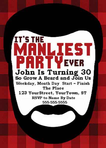The Manliest Party Event birthday invitation
