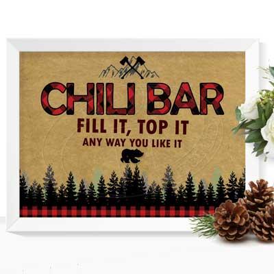 lumberjack party signs chili bar