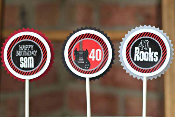40/50/60 Rocks cupcake toppers