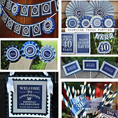 Blue and White Vintage 60th birthday supplies
