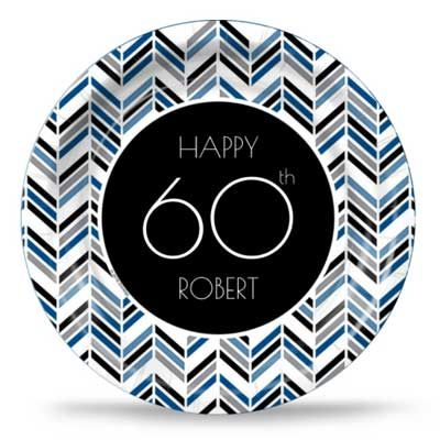 Best 60th Ever blue party plates