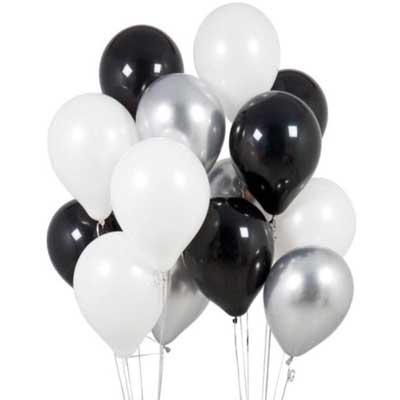 black white silver balloons
