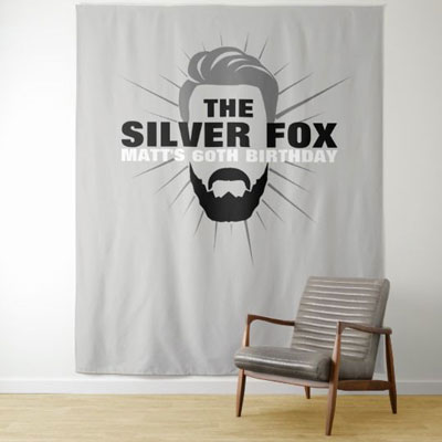 The Silver Fox with beard backdrop