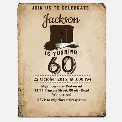 60th Birthday Party Invitation vintage