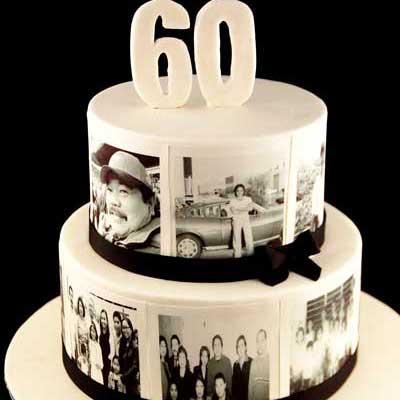 60th birthday photo cake