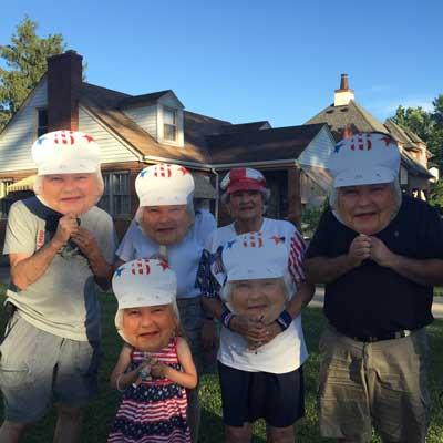 surprise birthday party fan faces
