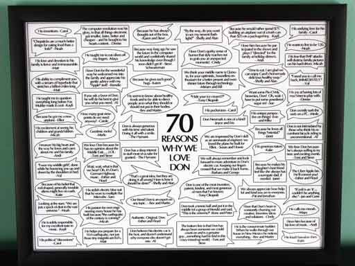 70 reasons why we love you framed
