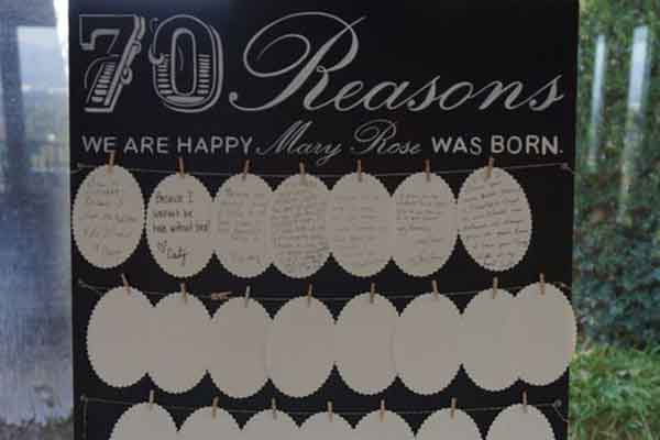 70 reasons why we love you display