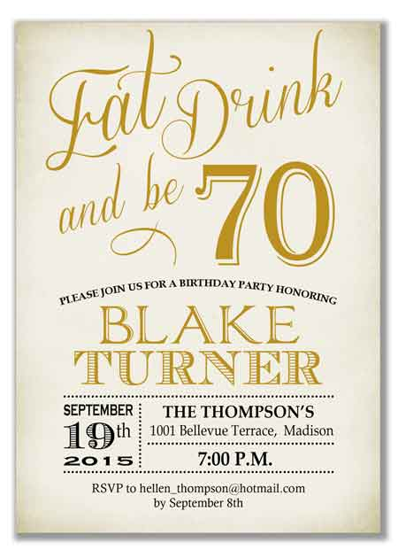 eat, drink and be 70 invitation