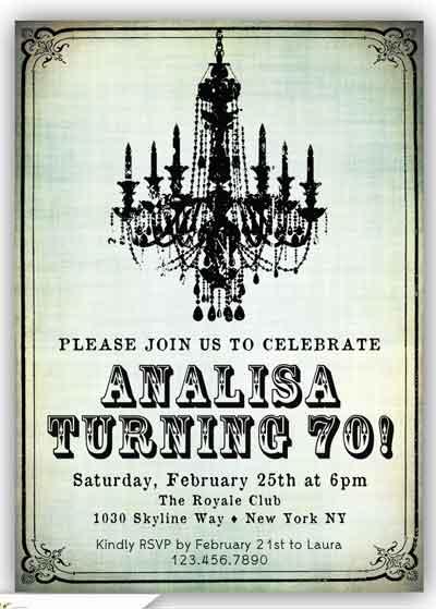 70th birthday invitation chandelier