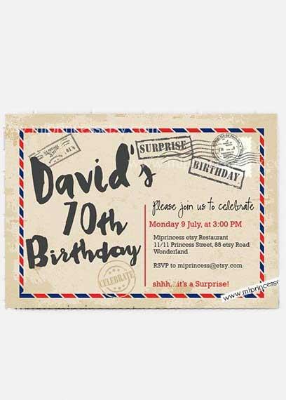surprise airmail 70th birthday invitation