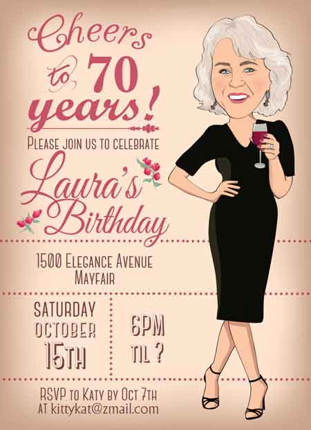 custom cartoon 70th birthday invitation
