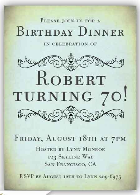 70th birthday invitation elegant vintage style