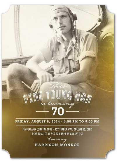 this fine young man is turning 70 invitation