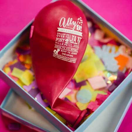 balloon invitation in a box