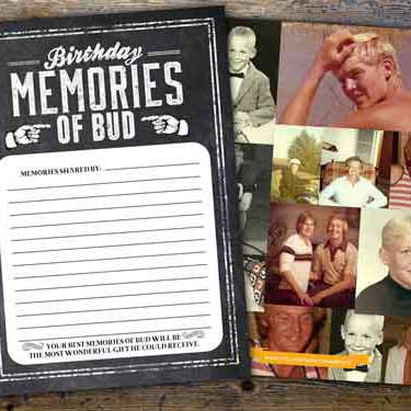 70th birthday memory cards
