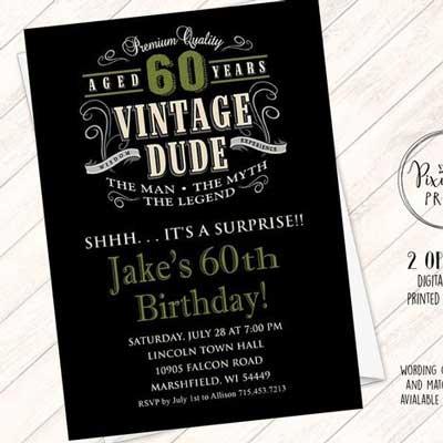 Vintage Dude 70th birthday invitation