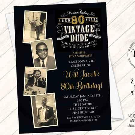 Vintage Dude custom photo invitation