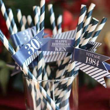 Blue and White Vintage 70th birthday drinks straws