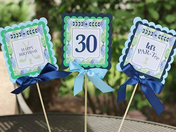 Golf Par-Tee milestone birthday centerpieces