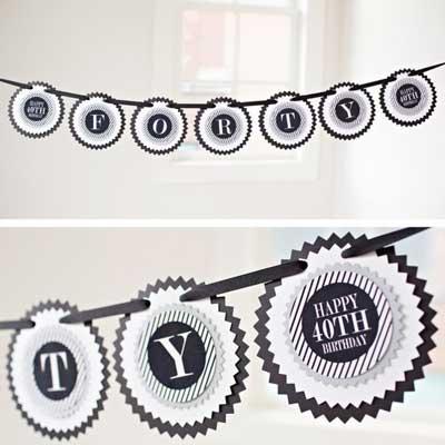 black and silver milestone birthday garland banner