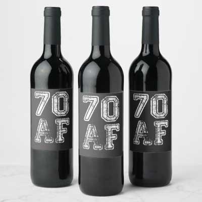 70 AF wine bottle labels