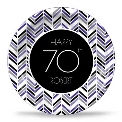Best 70th Ever purple party plates