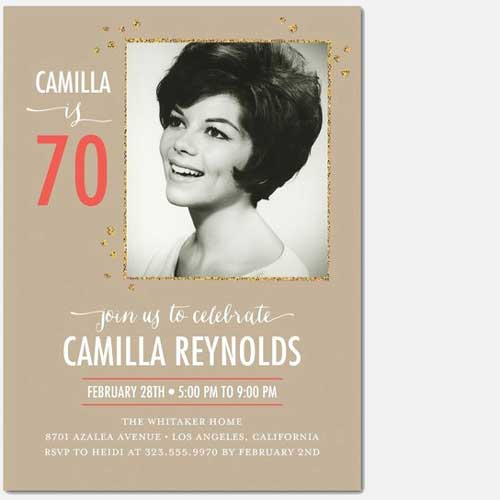 70th Birthday custom photo Invitation