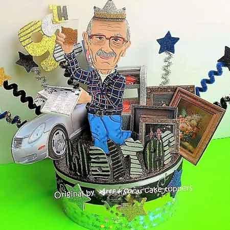 80th birthday cartoon figure cake topper