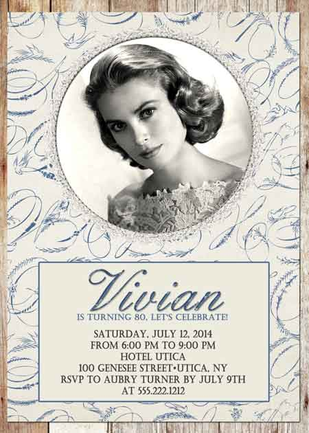 elegant custom photo 80th birthday invitation