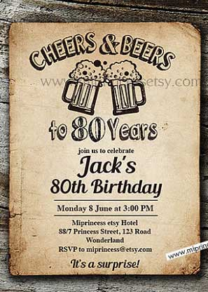 cheers and beers to 80 years invitation