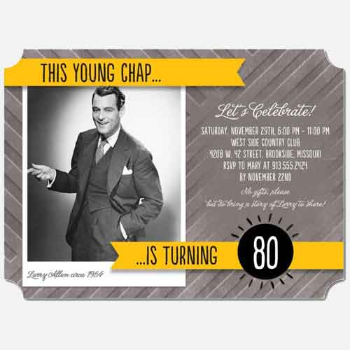 this young chap is turning 80 custom photo invitation