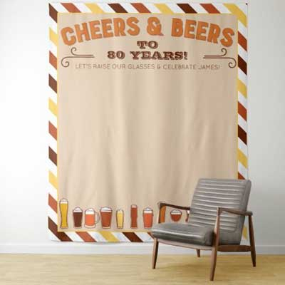 Cheers and Beers to 80 years wall tapestry