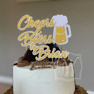 Cheers and Beers to 80 years cake topper