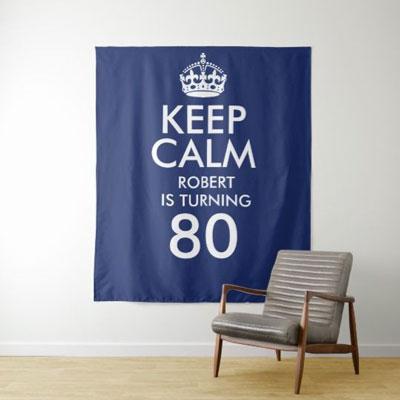 Keep Calm 80th birthday backdrop
