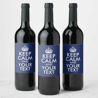 Custom Keep Calm wine bottle labels