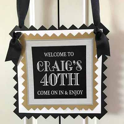 Black and Gold Vintage 80th birthday welcome sign