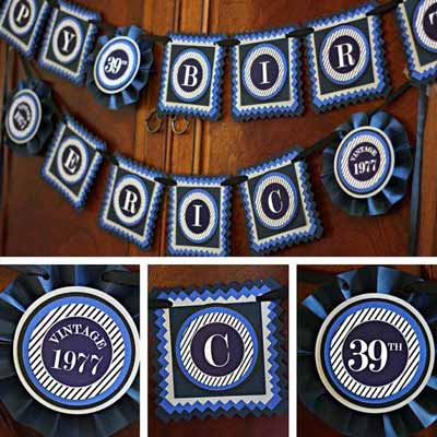 Blue and White Vintage 80th birthday supplies