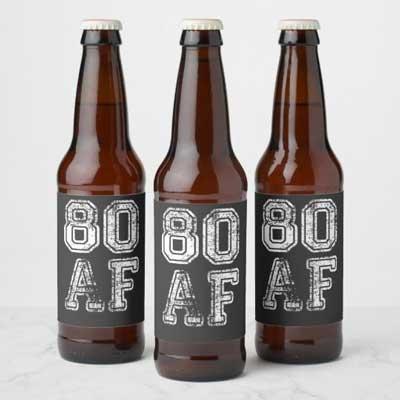 80 AF beer bottle labels