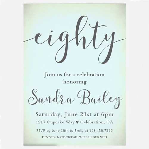 100 80th birthday party ideasby a professional party planner 80th birthday custom photo invitation eighty invitation filmwisefo Image collections